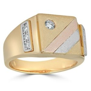 Harlembling Mens Tri-Color Iced Out Ring